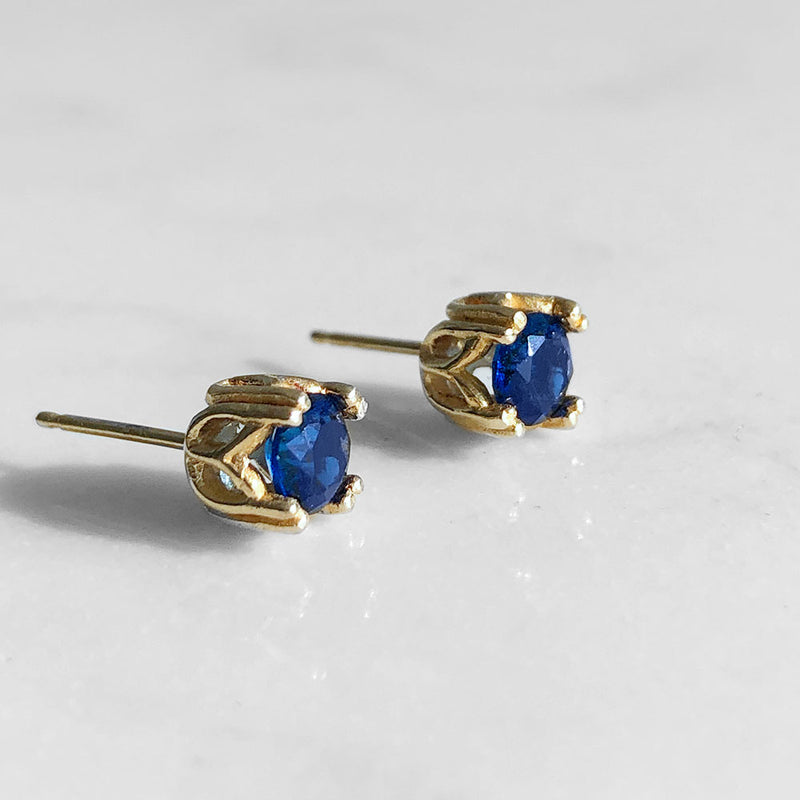 Sapphire Royal Studs September Birthstone - Angela Wozniak Jewellery