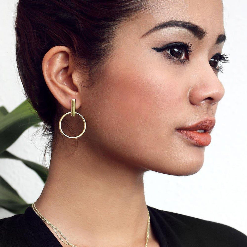 Chloe Bar Stud Hoop Earrings - Angela Wozniak Jewellery