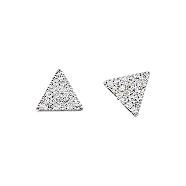 Sterling Silver Crystal Triangle Studs - Angela Wozniak Jewellery