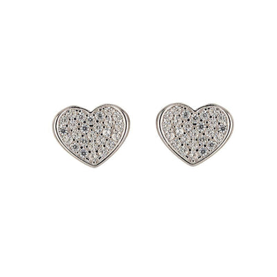 Sterling Silver Crystal Heart Stud Earrings - Angela Wozniak Jewellery