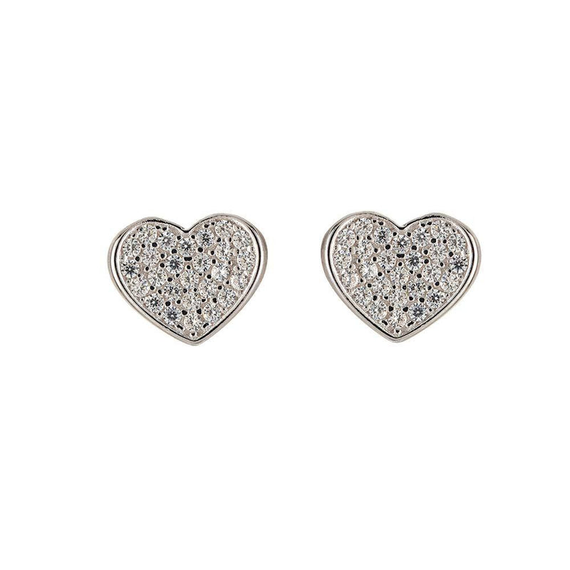 Crystal Heart Stud Earrings – Sterling Silver
