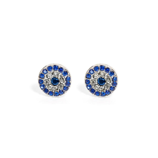 Swarovski Crystal Evil Eye Charm Studs – Various Materials - Angela Wozniak Jewellery