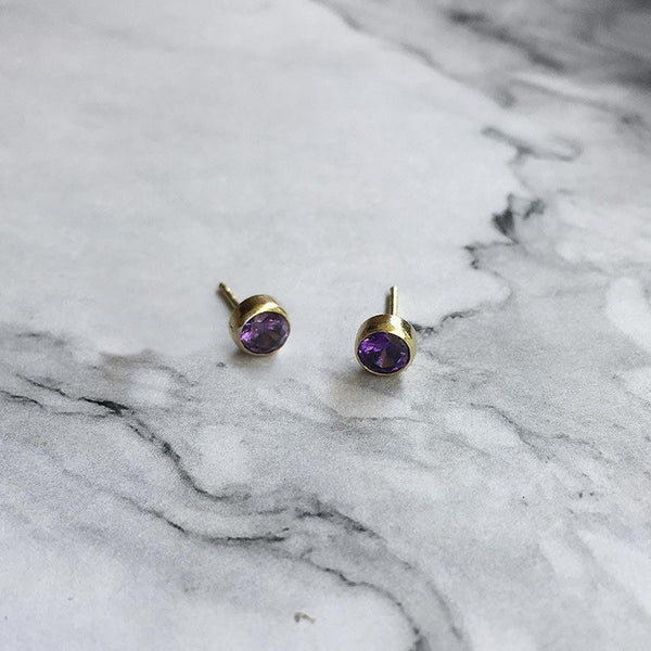 Amethyst Studs February Birthstone - Angela Wozniak Jewellery