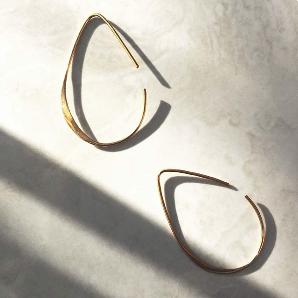 Gold Teardrop Hoop Threader Earrings - Angela Wozniak Jewellery