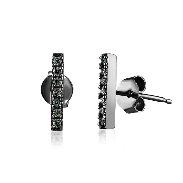 Kurshuni Black Rhodium Crystal Bar Studs - Angela Wozniak Jewellery