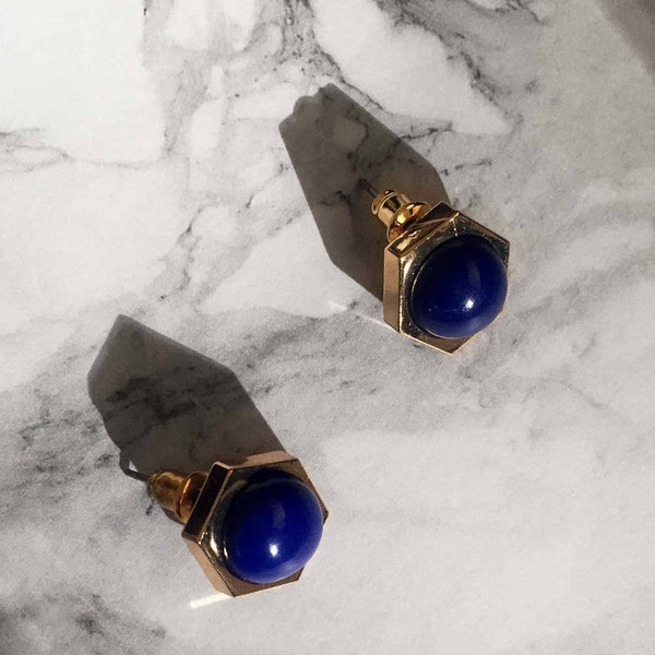 Lapis Lazuli Hexagon Gold Studs - Angela Wozniak Jewellery