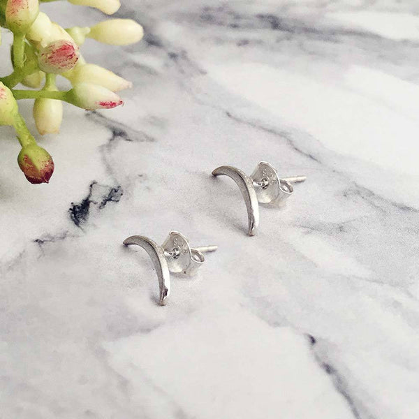 Sterling Silver Tiny Moon Arc  Studs - Angela Wozniak Jewellery