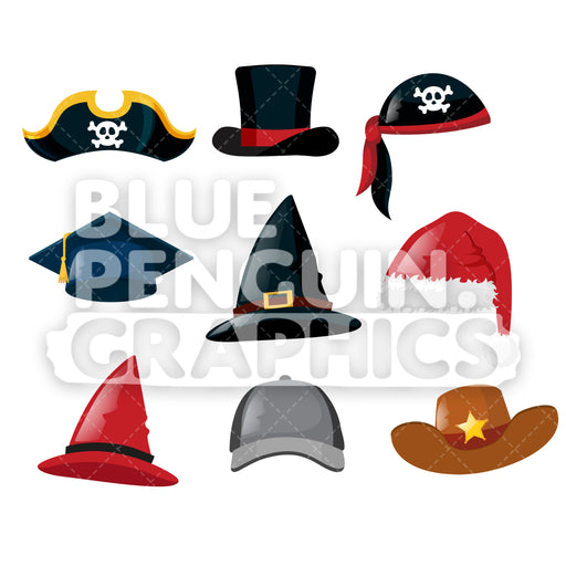 9 Hats Bundle Cartoon Clipart Illustration - Blue Penguin Graphics