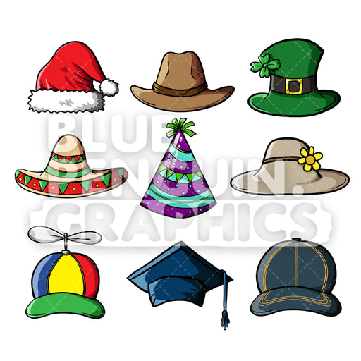 9 Hats Bundle Vector Cartoon Clipart Illustration - Blue Penguin Graphics
