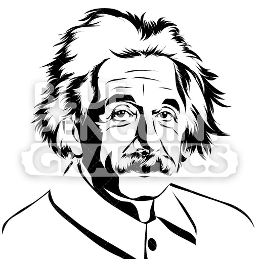 Physicist Albert Einstein Silhouette - Blue Penguin Graphics