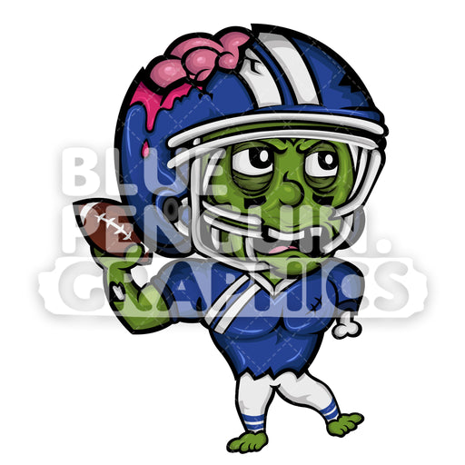 Angry Football Player Zombie Vector Cartoon Clipart - Blue Penguin Graphics