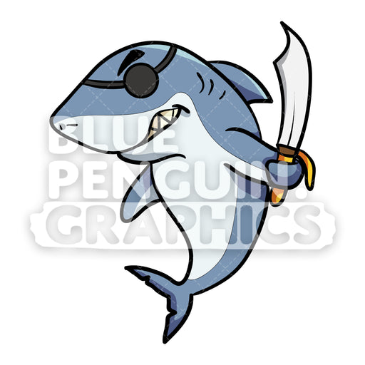 Angry Pirate Shark Vector Cartoon Clipart - Blue Penguin Graphics