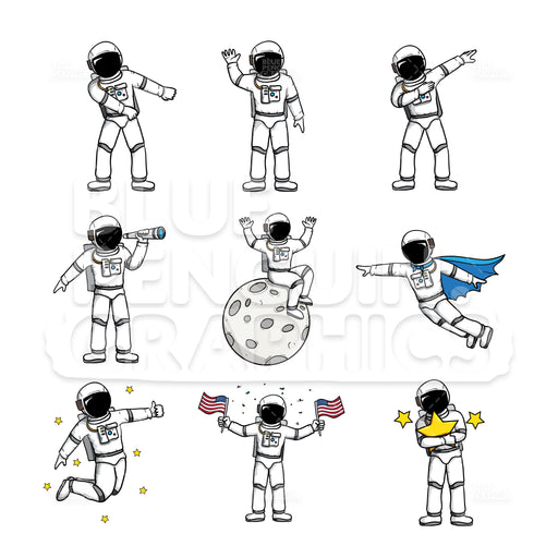 Astronaut Bundle Set Vector Cartoon Clipart - Blue Penguin Graphics