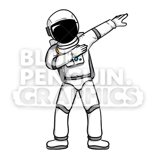 Astronaut Dabbing Vector Cartoon Clipart - Blue Penguin Graphics