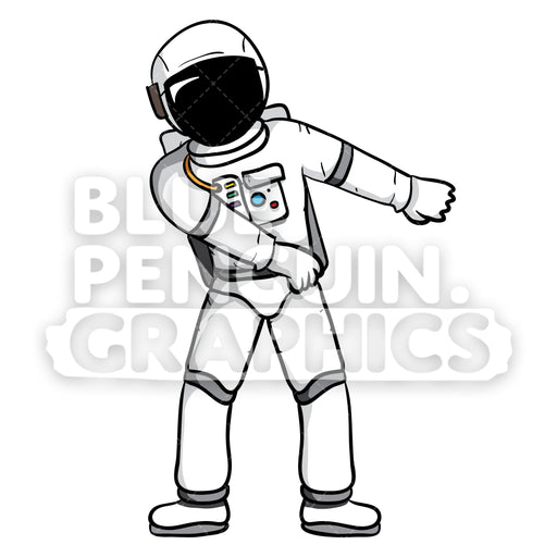 Astronaut Flossing Vector Cartoon Clipart - Blue Penguin Graphics