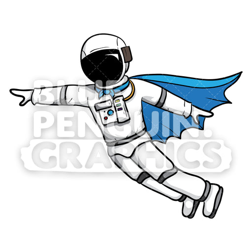 Astronaut Flying with Superhero Cape Vector Cartoon Clipart - Blue Penguin Graphics