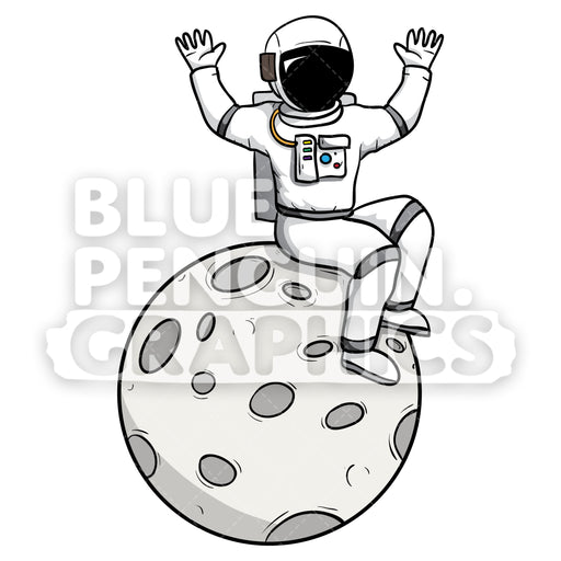 Astronaut Sitting on the Moon Vector Cartoon Clipart - Blue Penguin Graphics