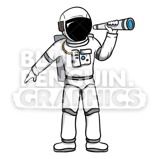Astronaut with Telescope Vector Cartoon Clipart - Blue Penguin Graphics