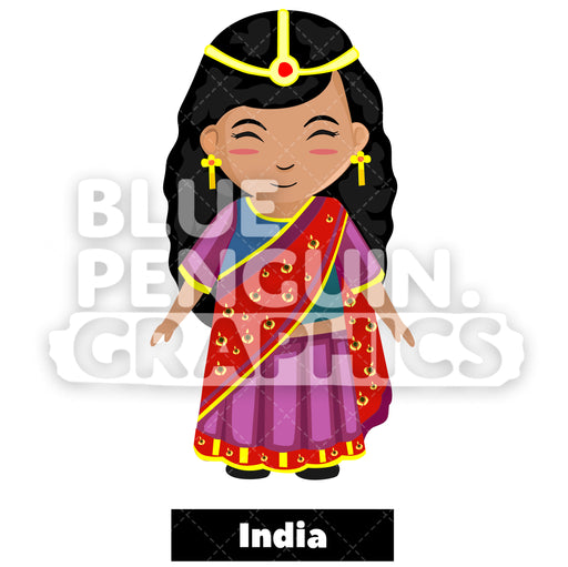 Cute Girl with Traditional Costume from India Vector Cartoon Clipart Illustration - Blue Penguin Graphics