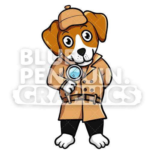 Beagle Dog Detective Vector Cartoon Clipart - Blue Penguin Graphics