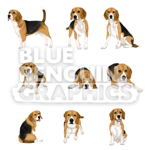 Beagle Dog Bundle Set Vector Clipart - Blue Penguin Graphics