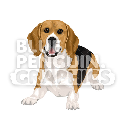 Beagle Dog version 4 Vector Cartoon Clipart Illustration - Blue Penguin Graphics