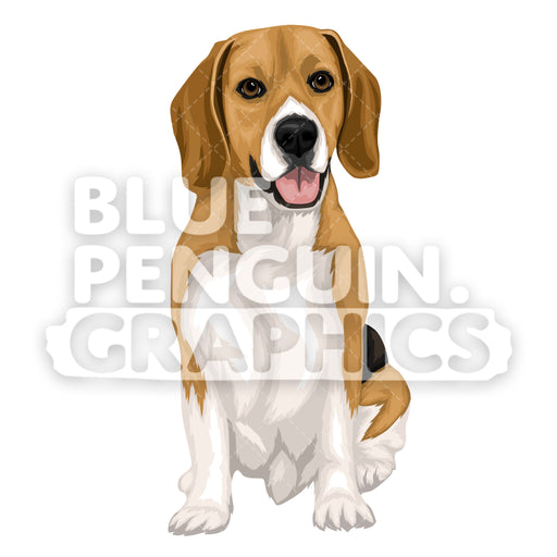Beagle Dog version 9 Vector Cartoon Clipart Illustration - Blue Penguin Graphics
