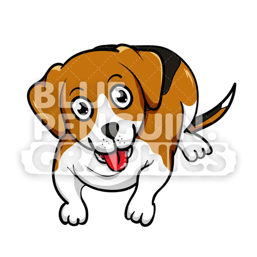 Beagle Laying on Floor Vector Cartoon Clipart - Blue Penguin Graphics