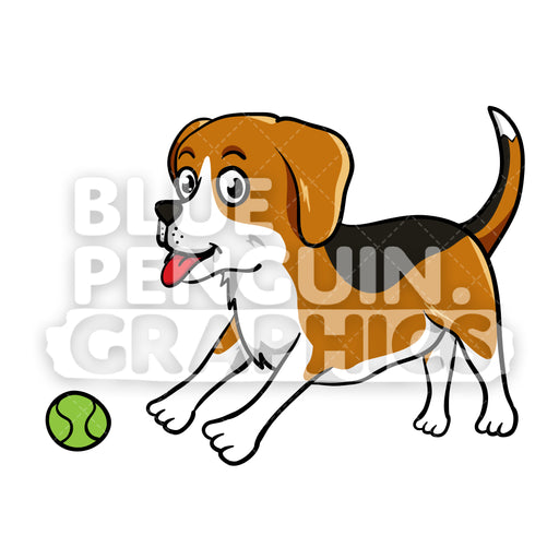 Beagle Playing a Ball Vector Cartoon Clipart - Blue Penguin Graphics