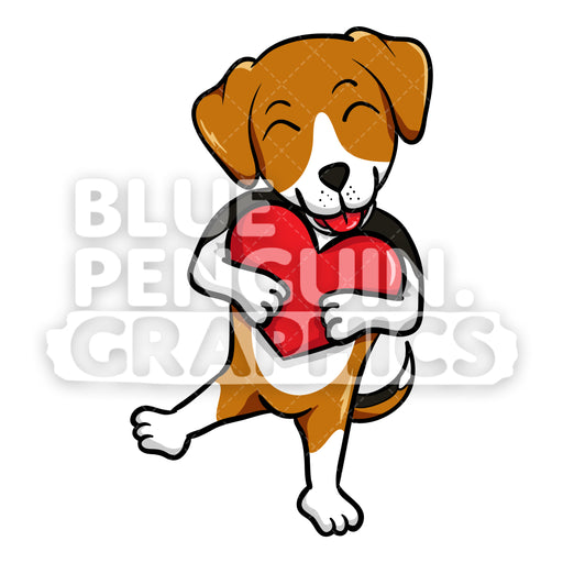 Beagle Dog Holds a Red Heart Vector Clipart Cartoon - Blue Penguin Graphics