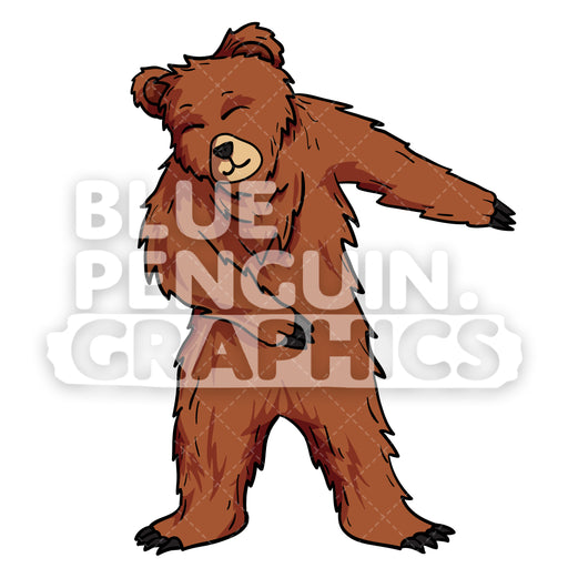 Bear Floss Vector Cartoon Clipart Illustration - Blue Penguin Graphics