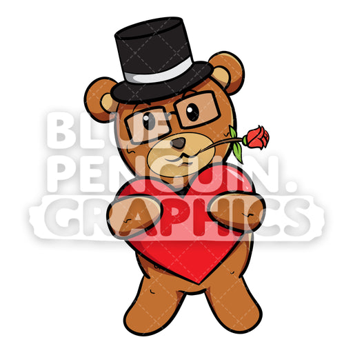 Bear with Black Hat Bringing Red Heart Vector Cartoon Clipart - Blue Penguin Graphics