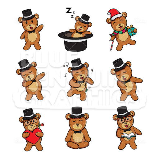 Bear with Black Hat Bundle Set Vector Cartoon Clipart - Blue Penguin Graphics