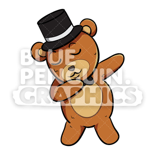 Bear with Black Hat Dabbing Vector Cartoon Clipart - Blue Penguin Graphics