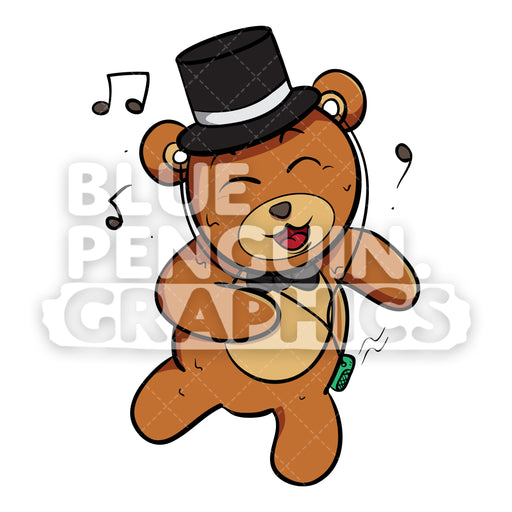 Bear with Black Hat Dancing Vector Cartoon Clipart - Blue Penguin Graphics