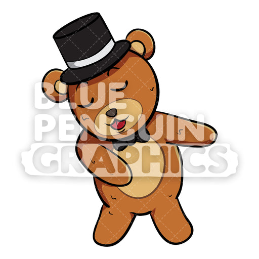 Bear with Black Hat Flossing Vector Cartoon Clipart - Blue Penguin Graphics