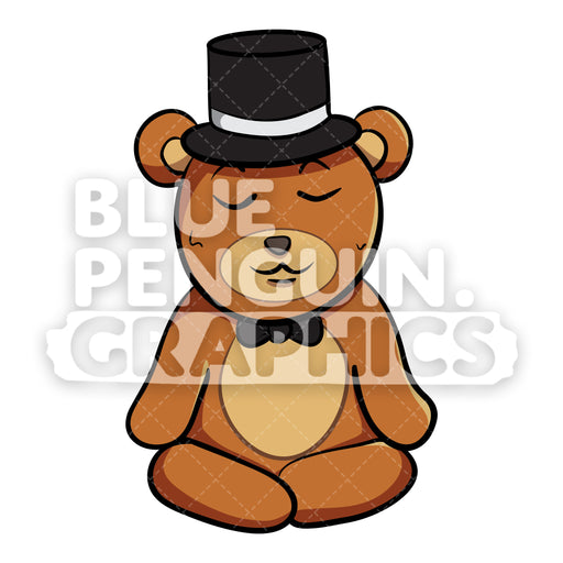 Bear with Black Hat Meditation Vector Cartoon Clipart - Blue Penguin Graphics