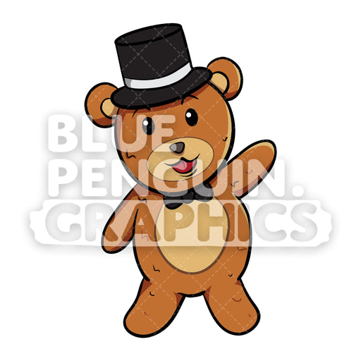 Bear with Black Hat Saying Hello Vector Cartoon Clipart - Blue Penguin Graphics