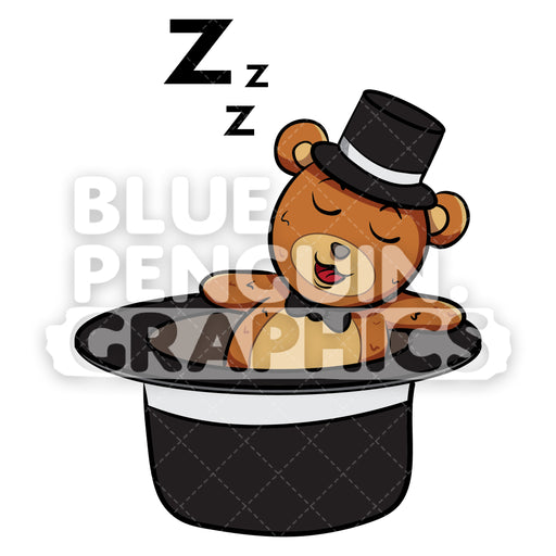 Bear with Black Hat Sleeping Vector Cartoon Clipart - Blue Penguin Graphics