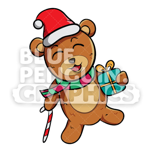 Bear with Black Hat with Christmas Outfit Vector Cartoon Clipart - Blue Penguin Graphics