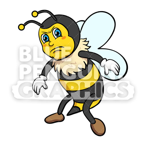 Bee Angry Vector Cartoon Clipart - Blue Penguin Graphics