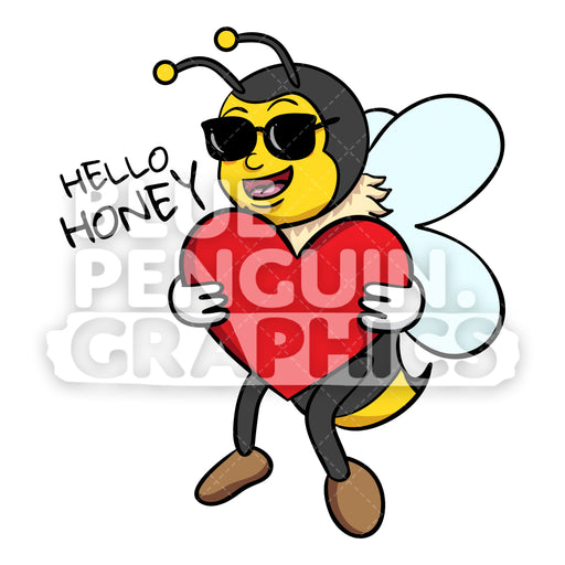 Bee Bringing Big Red Heart Vector Cartoon Clipart - Blue Penguin Graphics