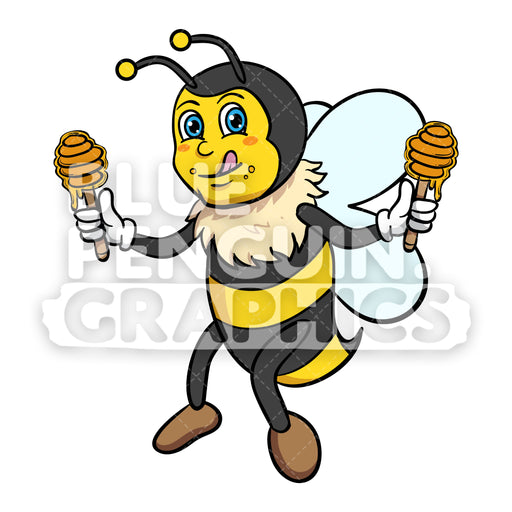 Bee Bringing Honey Dipper Vector Cartoon Clipart - Blue Penguin Graphics