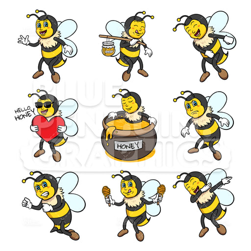 Bee Bundle Set Vector Cartoon Clipart - Blue Penguin Graphics