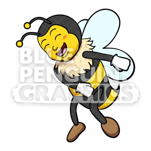 Bee Flossing Vector Cartoon Clipart - Blue Penguin Graphics