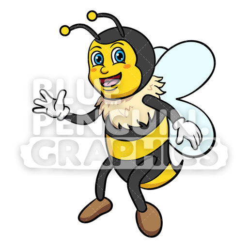 Bee Flying and Saying Hello Vector Cartoon Clipart - Blue Penguin Graphics