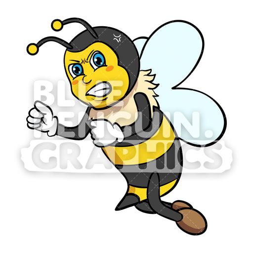 Bee Super Angry Vector Cartoon Clipart - Blue Penguin Graphics