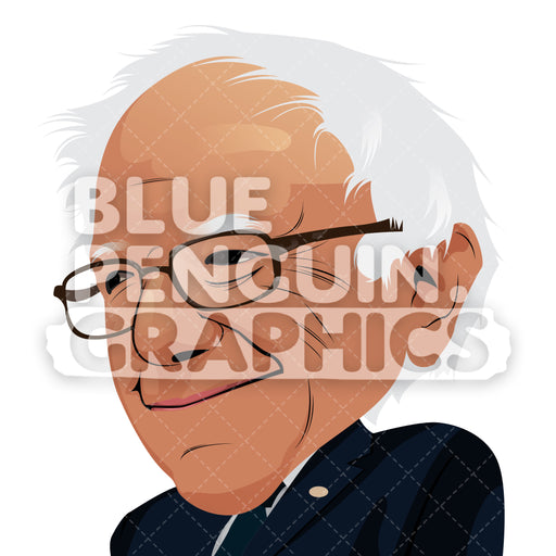 United States Senator Bernie Sanders Vector Cartoon Clipart Illustration - Blue Penguin Graphics