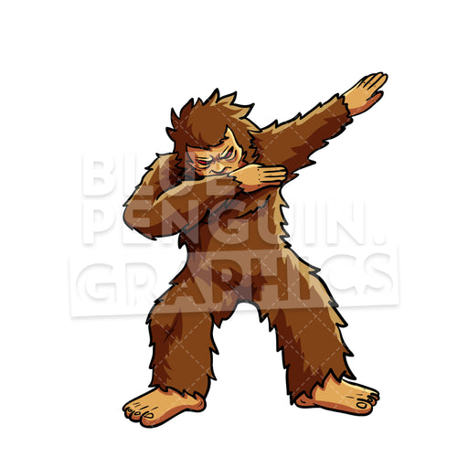 Bigfoot Dabbing Vector Cartoon Clipart Illustration - Blue Penguin Graphics