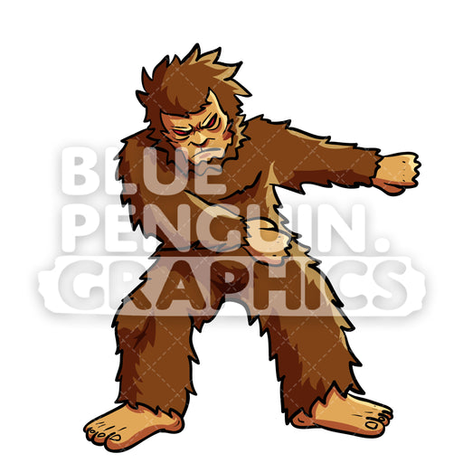 Bigfoot Floss Dance Vector Cartoon Clipart Illustration - Blue Penguin Graphics